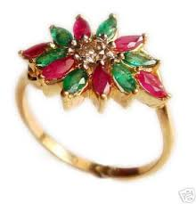 flower style rings images Flower style ruby emerald diamond ring in solid 18k gold gleam jewels jpg