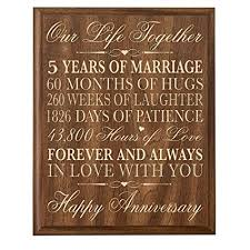 5th anniversary gifts for him 5th wedding anniversary wall plaque gifts for