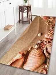 Coral Bath Rugs Non Slip Beach Shell Coral Velvet Bathroom Rug Brown W Inch L