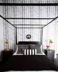 bedroom black and white striped bedding with gold heart