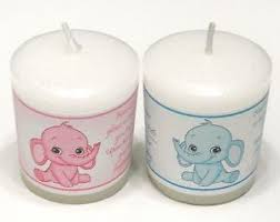 personalized candle favors 14 pink or blue elephant baby shower personalized votive candle