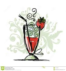 strawberry margarita cartoon cocktail with strawberry sketch for your design stock vector