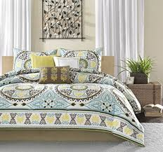 Overstock Com Bedding Amazon Com Madison Park Samara 6 Piece Printed Duvet Set Full