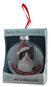 h u0026h black u0026 white cat santa paws glass bauble gift horse online