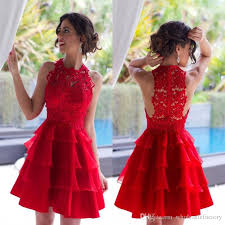 2017 charming red cocktail dresses vintage lace short mini