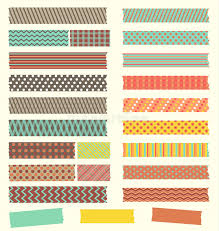washi tape designs set of cute retro patterned washi tape strips stock vector