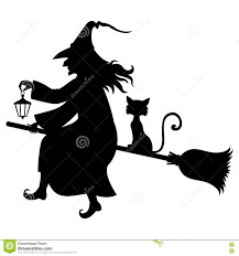 witch with broom and kitty fly on broom stock vector image 77755494