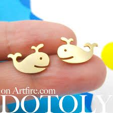 allergy free jewelry happy whale animal stud earrings in gold allergy free gold