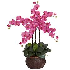 silk flower nearly phalaenopsis with decorative vase silk flower