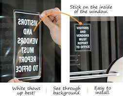 visitor window decals clear or white glass window door decals