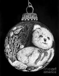 christmas bear ornament drawing by peter piatt