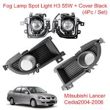 fog lamp spot light h3 55w cover black mitsubishi lancer cedia