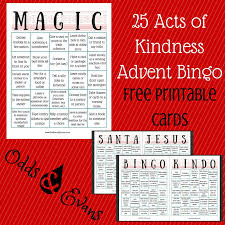 25 acts of kindness advent bingo free printable cards odds u0026 evans