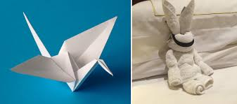 hotel guest leaves origami for cleaning staff back and forth