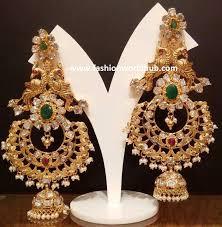 pachi work earrings diamond peacock chandbali ear rings fashionworldhub