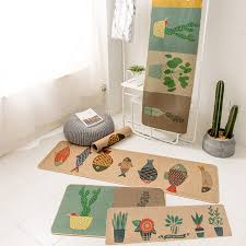 Fish Runner Rug Rubber Flowers Fish Plant Printing 2 Pieces Sets Non Slip