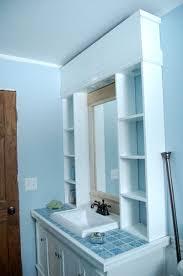 Bathroom Mirror With Shelves Builder Grade Mirror Upgrades Center Cabinet To Split Up The