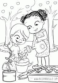 kids gardening coloring pages children nice veggie
