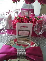 pink table l pink white and bling table dahlia floral design black white and