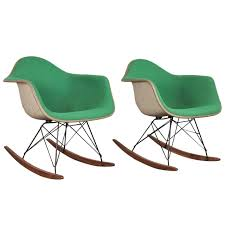 Eames Fiberglass Rocking Chair Vintage Green Eames Upholstered Rocking Chair One Left At 1stdibs