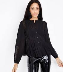 Black Blouse With White Collar Shirts New Look