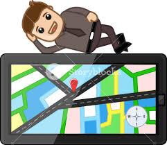 Gps Map Man Laying On Gps Map Navigation Device Cartoon Vector Royalty