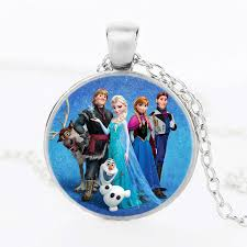 glass necklace pendant images Round glass necklace queen elsa necklace snow queen pendant jpg