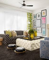 ottoman with tray family room contemporary with black and white