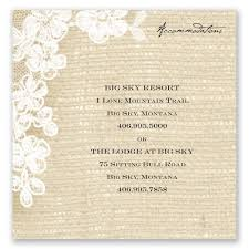burlap and lace accommodations card invitations by dawn