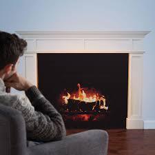 the faux fireplace decal hammacher schlemmer