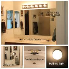 Gold Bathroom Light Fixtures Updating Bathroom Light Fixtures Lighting Designs