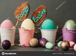 painted easter buckets color eggs in buckets happy easter background stock photo
