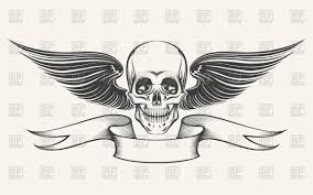 skull ribbon skull with wings and ribbon vector clipart image 98297 rfclipart