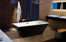 Modern Bathroom Shower Luxury Soaking Bathtub Acrylic Black White Freestanding Modern
