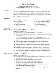 examples of clerical resumes resume site supervisor virtren com inspiring design loss prevention resume 6 best loss prevention
