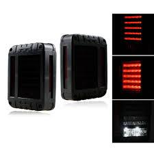 jeep wrangler back smoke lens g4 red led tail light assembly w turn signal u0026 back up