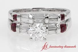 Ruby Wedding Rings by Bar Baguette Round Diamond With Ruby Wedding Ring Set In White Gold