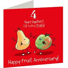 4th wedding fruit anniversary card