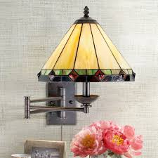 tiffany style glass panel plug in swing arm wall lamp wall porch
