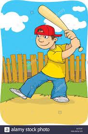 cartoon illustration boy playing baseball stock photos u0026 cartoon