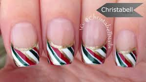candy cane french tip nail art for christmas youtube