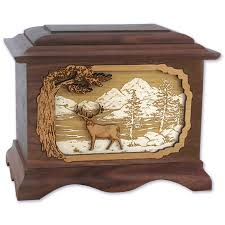 wood inlay deer cremation urn with 3d inlay wood urns