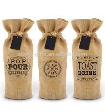 burlap gift bags promotion screen printing drawstring wine bag burlap gift bag