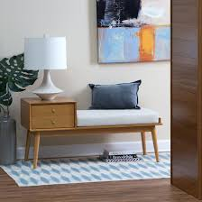 Entryway Bench With Rack Brown Wood Entry Bench With Hidden Storage Open Top Systementry