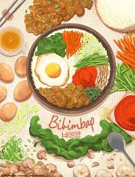 cuisine illustration bibimbap by brenna lindblad han dishes food