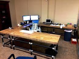 homemade butcher block desk how to make a planked wood desktop best commercial u shaped office desk furniture