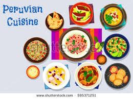 quinoa cuisine peruvian cuisine icon fish avocado ceviche stock vector 595371251