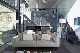 Modern Beige Sofa by Living Room Floor To Ceiling Windows Also Sliding Door Plus Beige