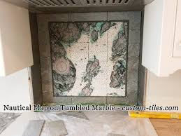 Kitchen Mural Backsplash Nautical Map On Custom Printed Tile Tumbled Marble Tiles For