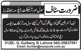 diploma holder civil architect diploma holder opportunity 2018 pakistan